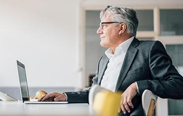Business man advisor computer office glasses suit