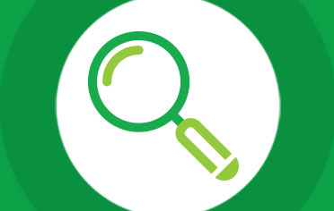 Magnifying glass icon inside circle