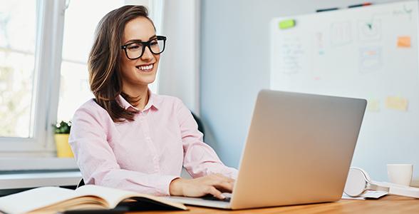 Female advisor home computer office